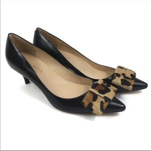 Talbots Leather Pointed Toe Calf Hair Leopard Bow